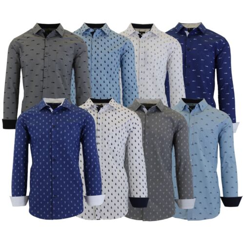 Mens L/S Printed Dress Shirts Slim-Fit Casual Color Work School Formal Cuffs NEW