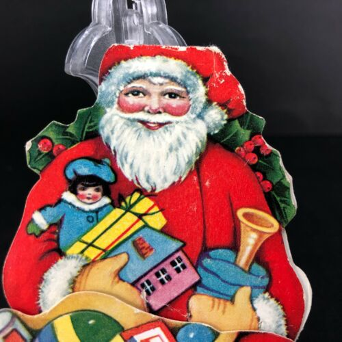 Vtg Antique Christmas Card Santa Fold Out Holiday Doll Toys Stockings Greeting
