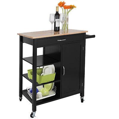 Rolling Kitchen Wood Cabinet Cart Island Storage Cookware Organizer W/ Wheels