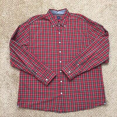 Gap Mens XXL Red/Gray Plaid Long Sleeve Button Front Shirt