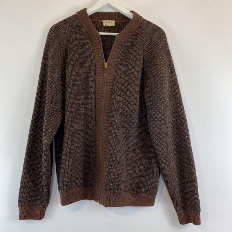 Vintage KASO Brown Wool Zip-Up Cardigan Sweater Size L