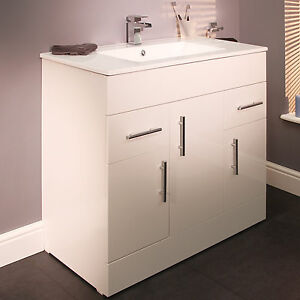 900mm White High Gloss Finish Bathroom Vanity Storage Cabinet Unit With Basin Ebay