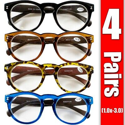 4 Pairs Mens Womens Oval Round Fashion Retro Power Reading Reader Glasses 1-3 Oval Womens Light