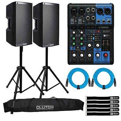"Alto TS312 12"" 2000W 2-Way Powered Active DJ PA Loud Speakers Pair w MG06X Mixer"