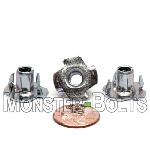 "1/4-20 x 3/8"" – Qty 10 – 4 Prong Tee Nut Straight Barrel Zinc Plated T-Nut"