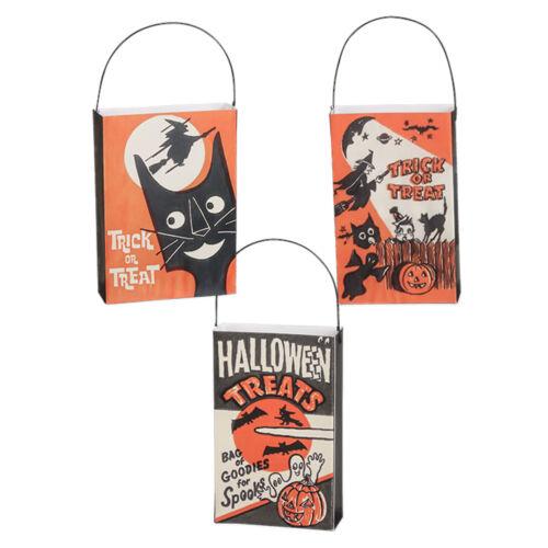 "Set/3 4"" Bethany Lowe Trick Or Treat Bag Ornaments Retro Vntg Halloween Decor"