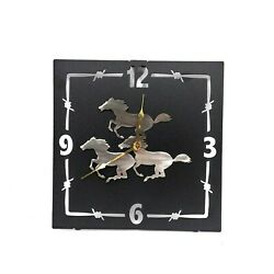 Rustic Western Stampede Wall Clock Home Accent Decor Metal Lazart Cabin Ranch