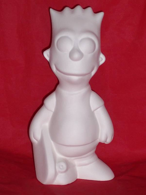 Ceramic Bisque~~ Ready to Paint~~Bart Simpson with a Skate Board
