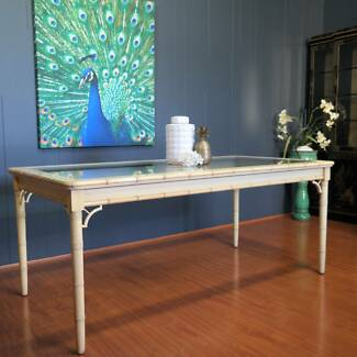 1970s Vintage Faux Bamboo Dining Table :: 6-8 Seater