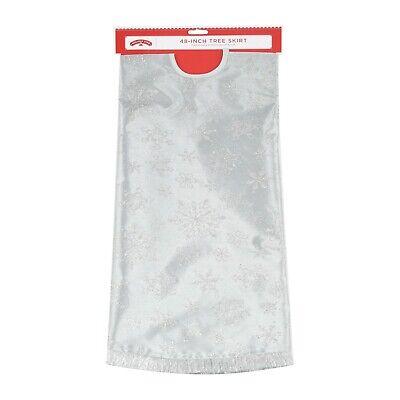 "Holiday Time Tree Skirt Snowflake, Silver Glitter Snowflake, 48"""