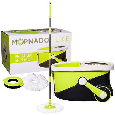 Stainless Steel Deluxe Rolling Spin Mop By Mopnado   Includes Scrub Brush