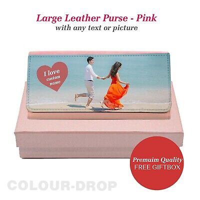 VALENTINES DAY Personalised Gift for Her Large Leather Purse -Pink Nice Giftbox ()