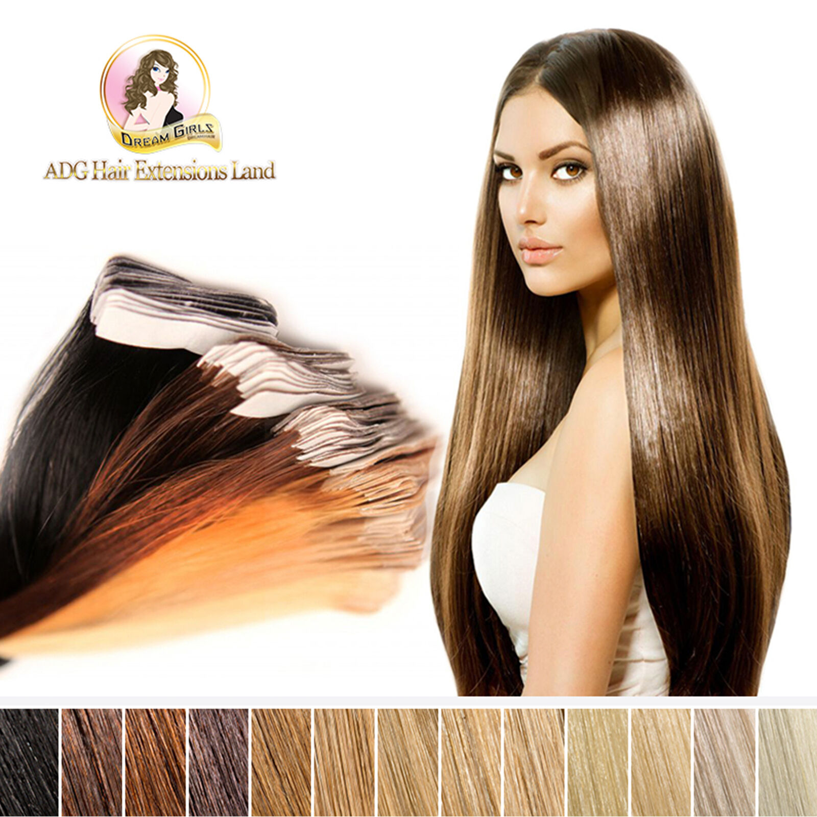 100 Indian Remy Tape Skin Weft Hair Extensions 18 20 22 24 26