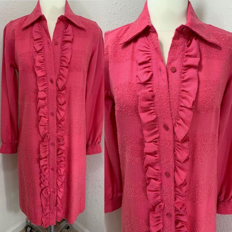 Vintage Irish Linen 1960s Pink Shift Dress w/Ruffles Trim MOD Shirt 35x33x35