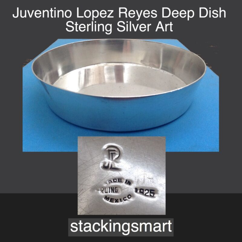 Juventino Lopez Reyes 925 Sterling Silver Deep Dish Vintage Mexican Flatware Art