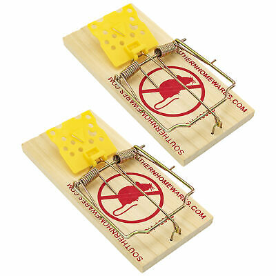 Wooden Snap Rat Trap Easy To Set Classic Traps Cheese Shaped Trigger Two Pack Animal & Rodent Control