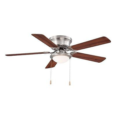 Hugger Low-Profile 52 In. Brushed Nickel Ceiling Fan With Frosted Dome Light