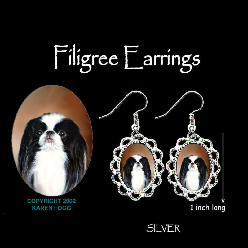 JAPANESE CHIN DOG - SILVER  FILIGREE EARRINGS Jewelry