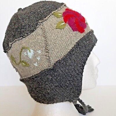b317d01f1c24d REI Womans Winter Hat One Size Fits Most Wool Blend Gray Floral Details
