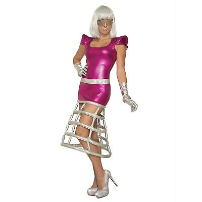 Womens Alien Costume Dress Pink Jetsons Gaga Sci-Fi Space Invader Halloween