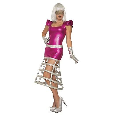 Womens Alien Costume Dress Pink Jetsons Gaga Sci-Fi Space Invader Halloween (Sci Fi Halloween)
