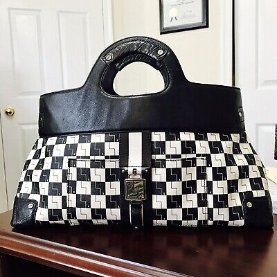 L.A.M.B Gwen Stefani Black And White Checkered Handbag