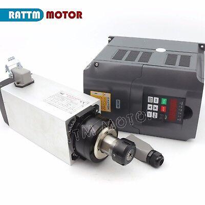 4kw Square Er25 220v Air Cooled Spindle Motor Engraving Milling4kw Vfd Inverter
