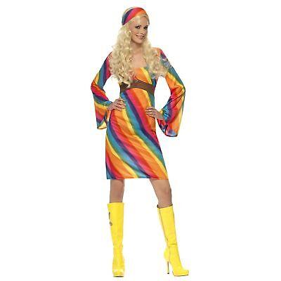 Rainbow Hippie Costume 1960's Groovy Flower Power Women's Fancy Dress Costume](Flower Power Costume)