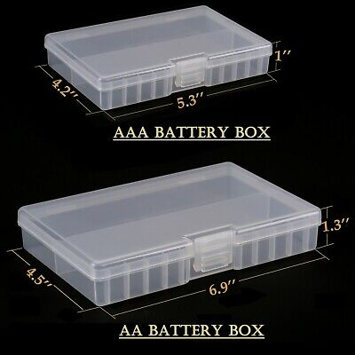 Clear AA/AAA Battery Storage Case/Box/Organizer Plastic Holds 96 batteries 2-PK Consumer Electronics