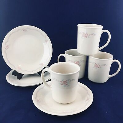 8 pc Corelle  Corning ENGLISH BREAKFAST 4 Coffee Cups w Sauces Pink Blue Floral