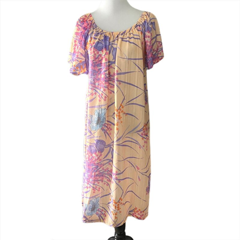 Vintage 60s 70s Floral Polyester Flutter Sleeve Dress Read!