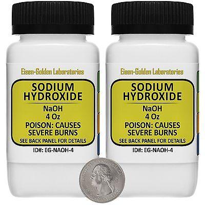 Sodium Hydroxide Naoh 99 Acs Grade Powder 8 Oz In Two Easy-pour Bottles Usa