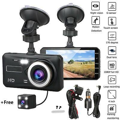 4 Inch Dual Lens Dash Cam Touch Camera HD 1080P Rearview Car DVR Night Vision