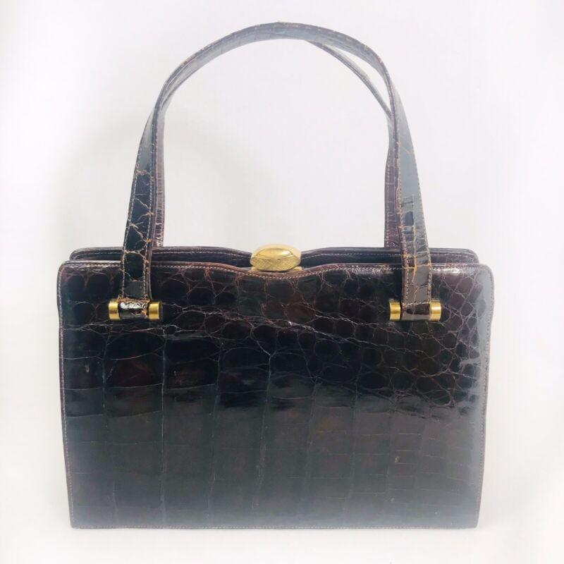 Bellestone Vintage Alligator Croc Leather Bag Purse Retro Props Granny 50s-60s
