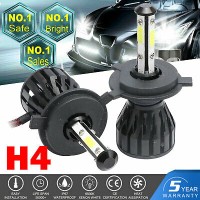 H4 HB2 9003 2200W 330000LM 4-Side LED Headlight Kit Hi/Lo Bulb 6500K Super Power