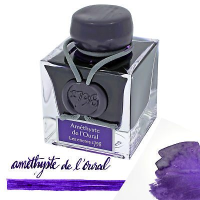 """J. Herbin """"1798"""" Anniversary Fountain Pen Ink Amethyste de L'Oural - 50ml Bottle"""