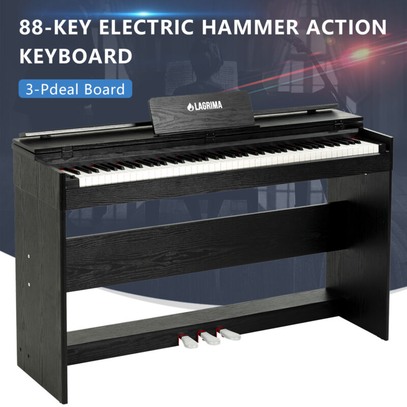 88 Weighted Action Key Piano Electric Digital LCD Keyboard w/Stand+3 Pedal Board