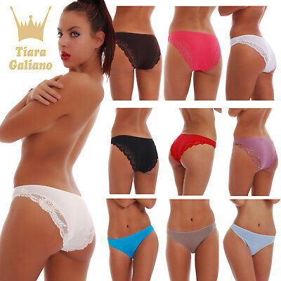 Classic Cotton High-cut Briefs Panties with Lace Back M-2XL TIARA GALIANO 1003