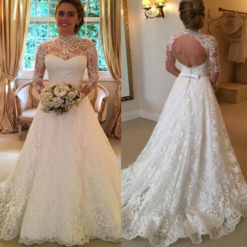 Women Wedding Dress Bridal Formal Gown Lace Long Sleeve Back