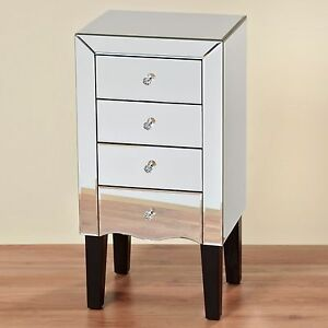 commode en verre miroir 85x43cm buffet buffet armoire verre miroir neuf ebay. Black Bedroom Furniture Sets. Home Design Ideas
