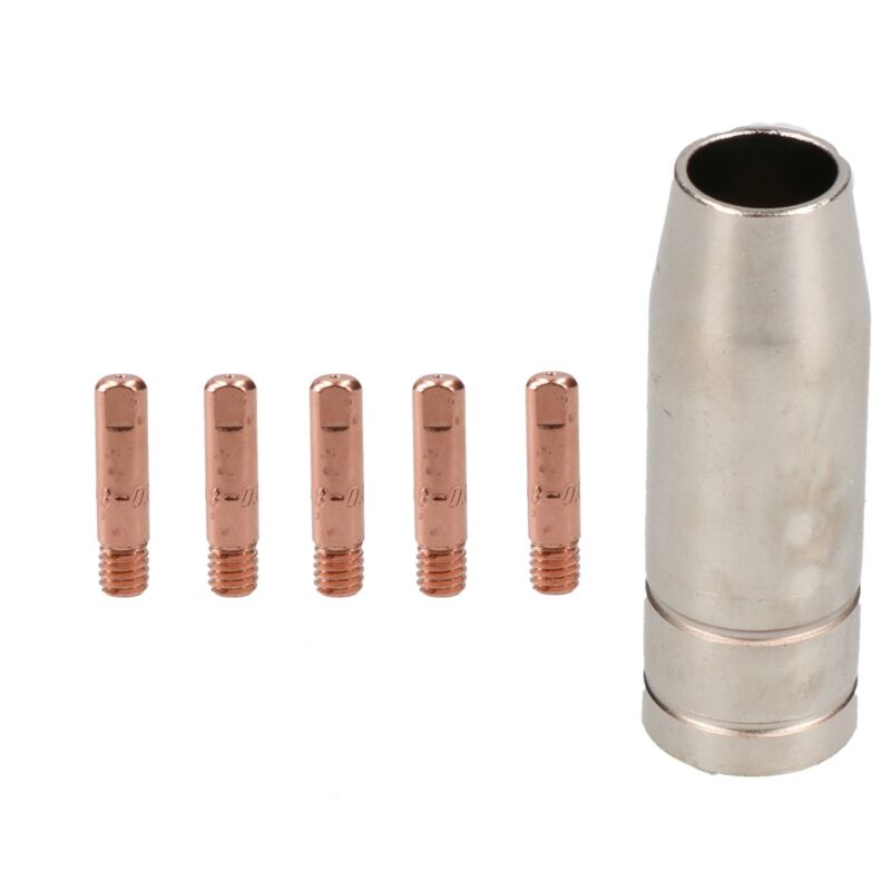 1 shroud & 5 x 0.8mm Round Contact Tips MIG Welding Binzel Style MB15 Torch