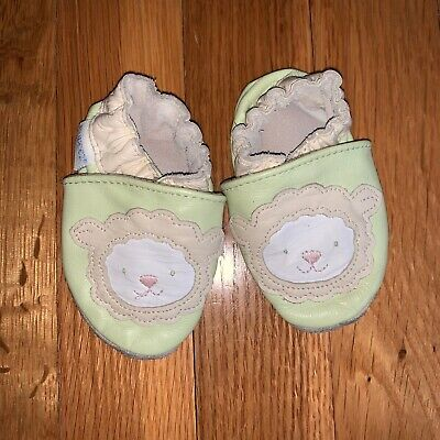 Robeez Infant Baby Boy Baby Girl Green LAMB Leather Crib Shoes 0-6 Months