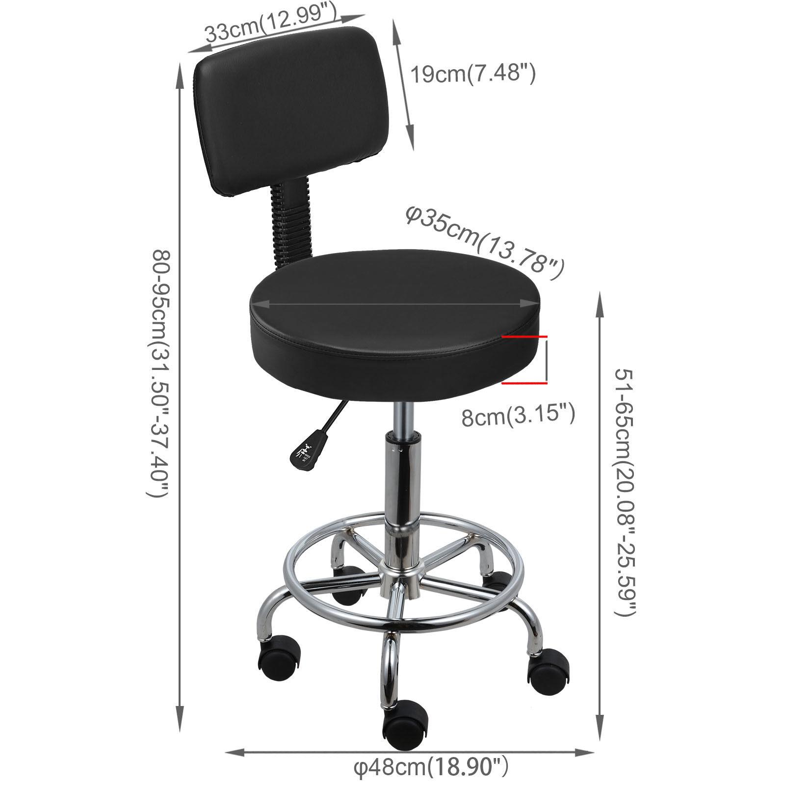 Rollhocker Arbeitshocker Drehstuhl Praxishocker Kosmetikhocker Arbeitsstuhl schwarze,runde mit Rückenlehne