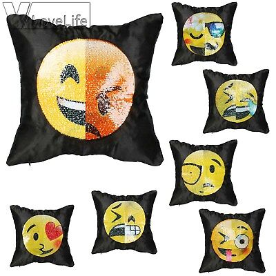 Emoji Face Cushion Cover Embroidered Sequin Smiley Face Emoji Pillow Case Decor - Smiley Face Cushion