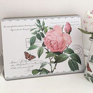 4 Placemat Table Mat Set Shabby French Vintage Chic Redoute Rose Kitchen dining