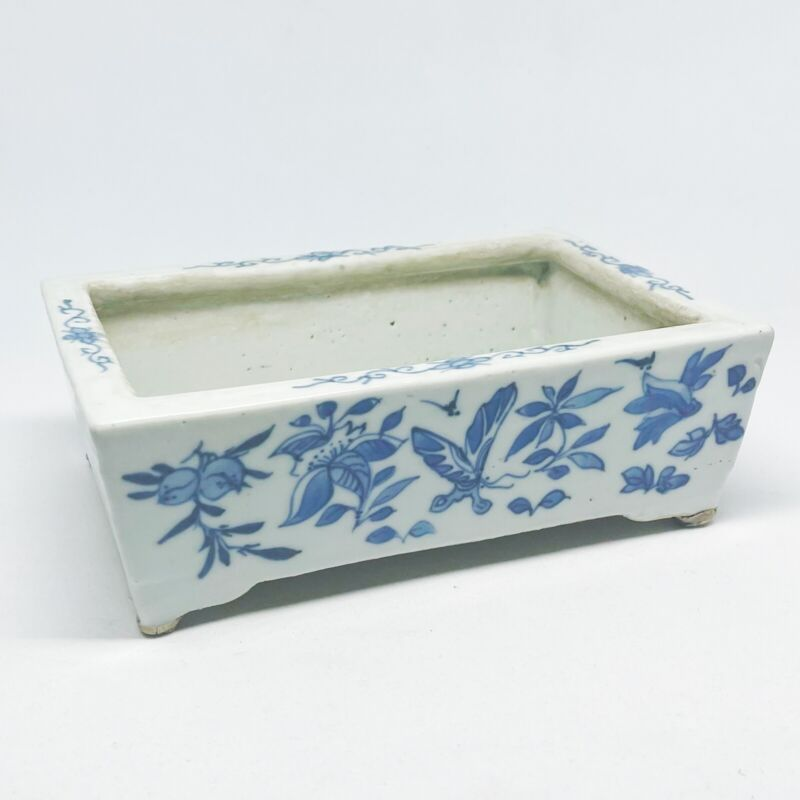 ANTIQUE Chinese BLUE AND WHITE RETICULATED NARCISSUS Bonsai PLANTER Butterfly