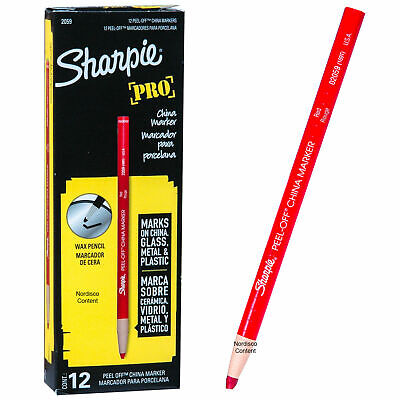 Sharpie Pro Red Peel Off China Marker Grease Pencil 02059 1 Dozen