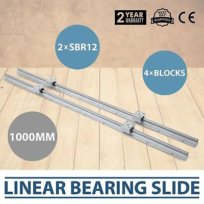 2 X Sbr12-1000mm L 12mm Fully Supported Linear Rail Shaft Rod 4 Sbr12uu Block