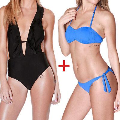 2 Costumi Donna Bikini Fascia + Monokini Mare Piscina Due Pezzi + Intero Estate