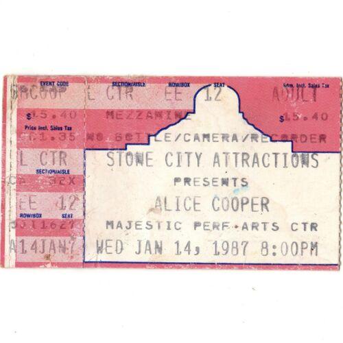 ALICE COOPER & VINNIE VINCENT & MALICE Concert Ticket Stub 1/14/87 SAN ANTONIO